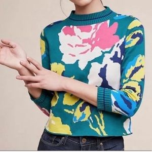 Anthropologie HWR Laine floral sweater